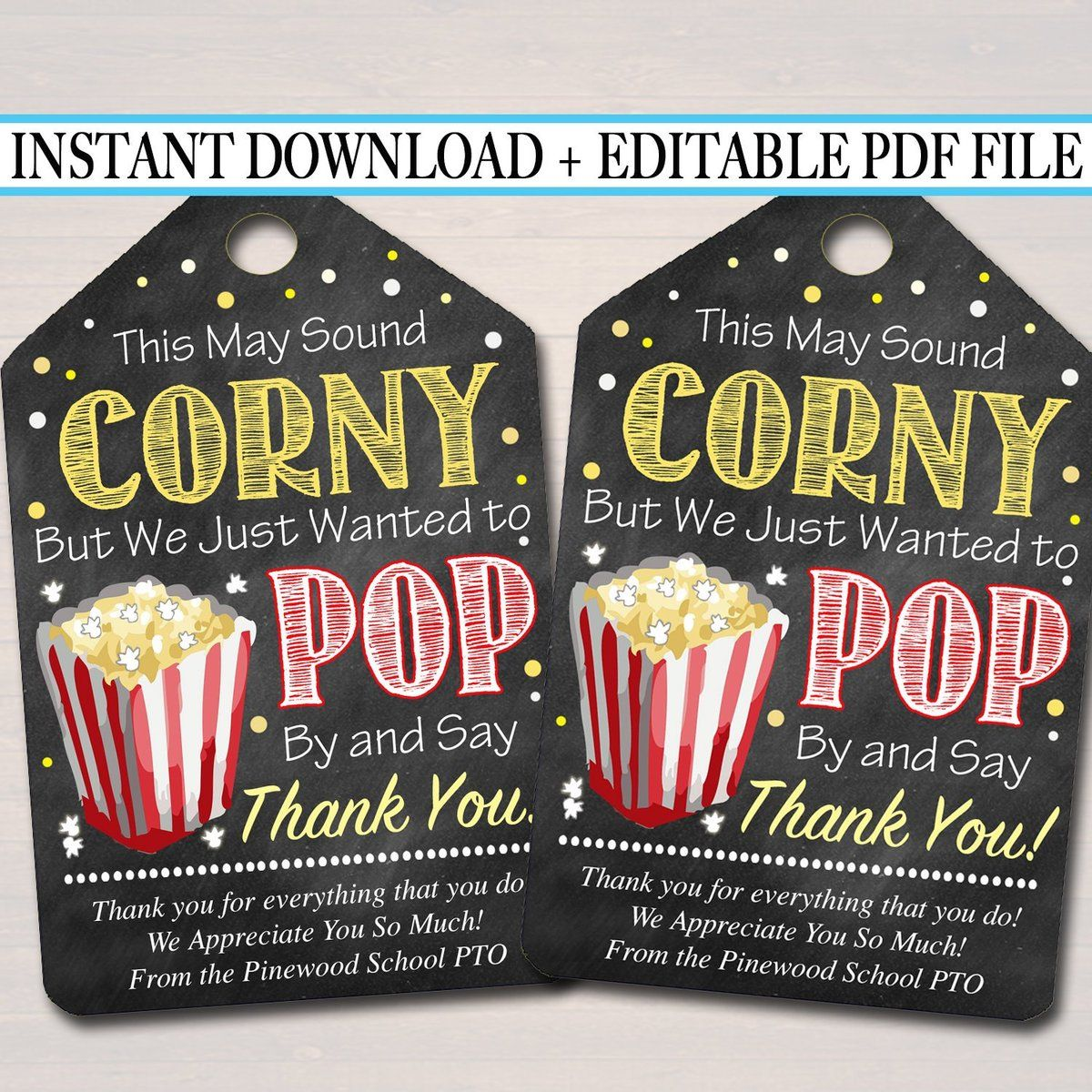 Popcorn Thank You Tags, Teacher Appreciation, Treat Tag