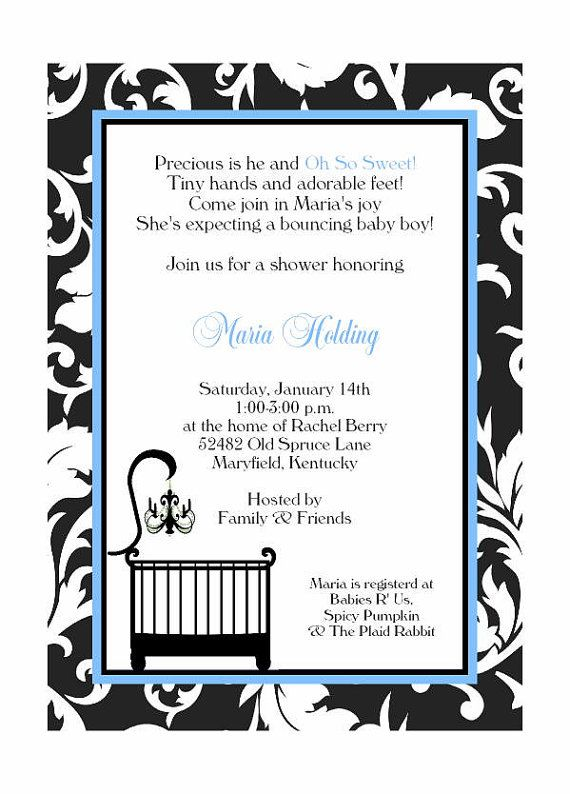 Damask Baby Shower invitation with Crib by YouNameItPrinting, $19.00