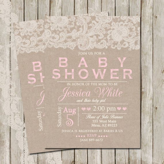 rustic baby shower invitation burlap and lace invitation girl baby shower invitation invite shabby printable invitation customize 5x7