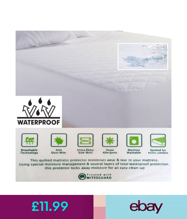 Waterproof Breathable Quilted Mattress Protector Cot Bed To Super King Size Mattress Protector Cot Bedding Mattress
