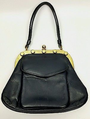 Vintage handbag Coquette NY navy blue leather studded frame 1960s mod