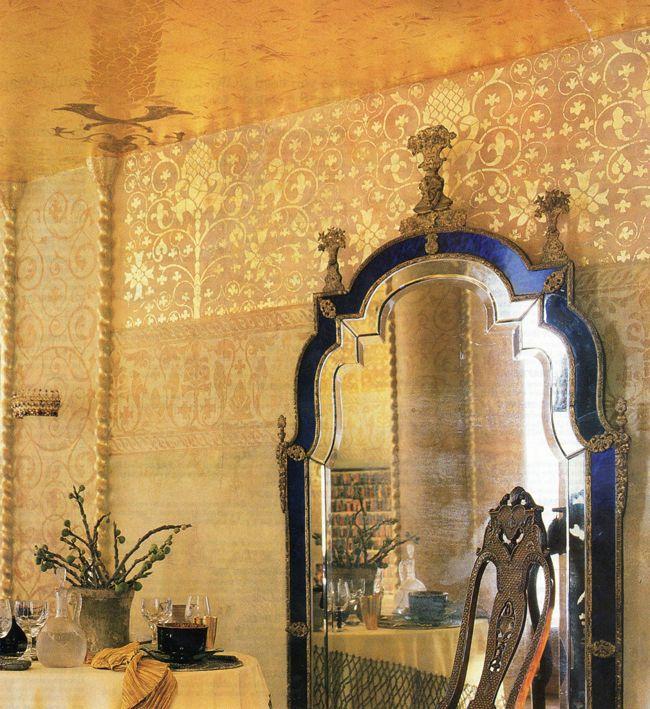 Wallpaper Designs For Bedroom Indian: Gold Leaf Indian Stenciling