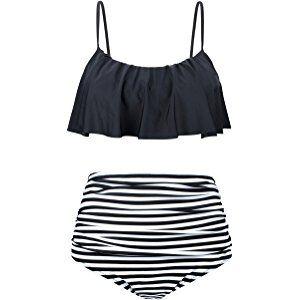 79a559383e37a UniSweet Womens High Waisted Bikini Set Flounce Chic Two Piece Swimwear  (FBA)
