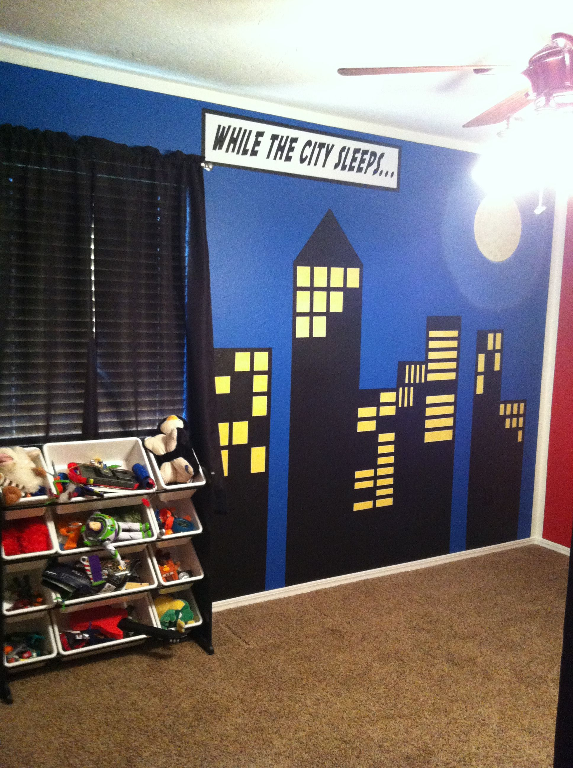 Boys Superhero Bedroom: Superhero/comic Book Wall Design