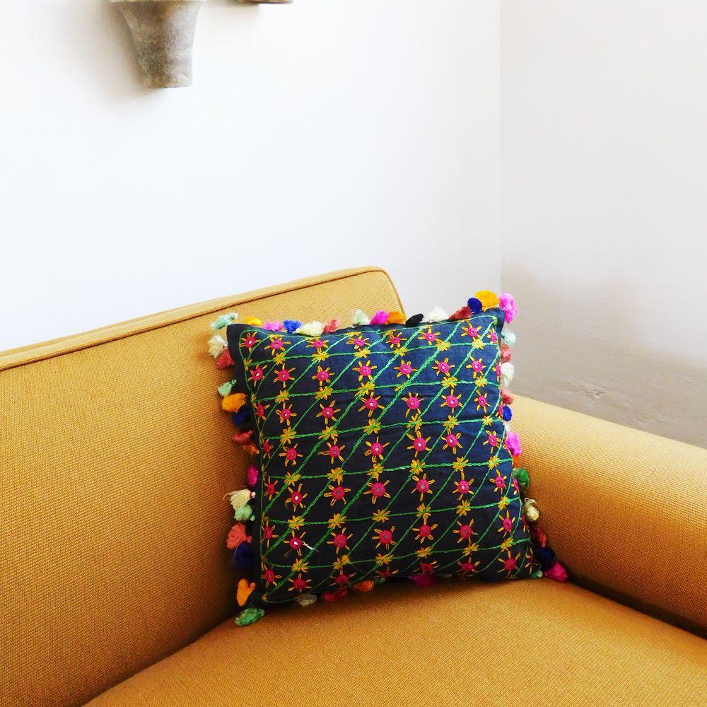 Black Boho Pillow // Beautiful light weight linen pillow with