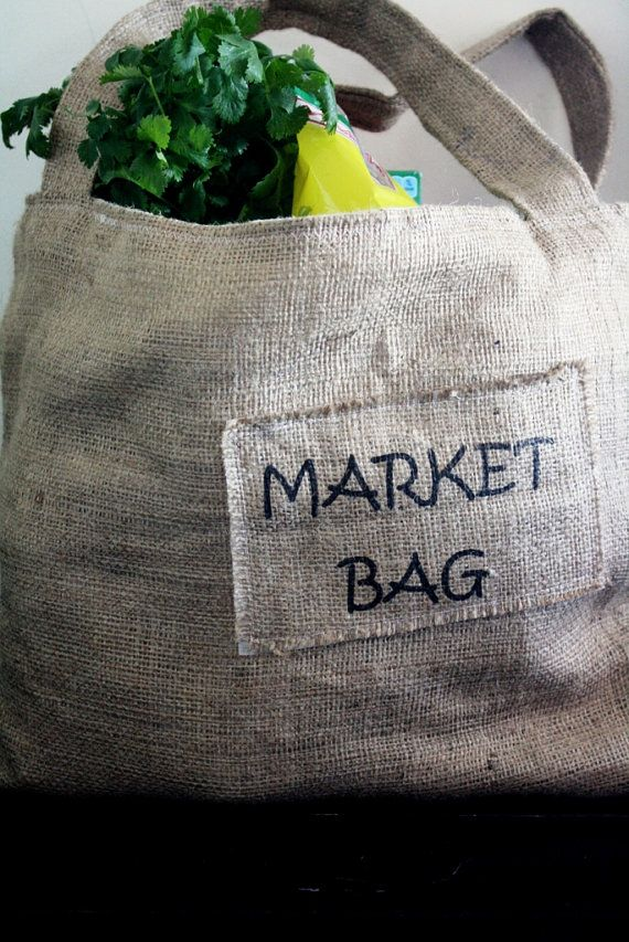 Upcycled Burlap Market Tote Market Bag by simplifyme on Etsy, $20.00