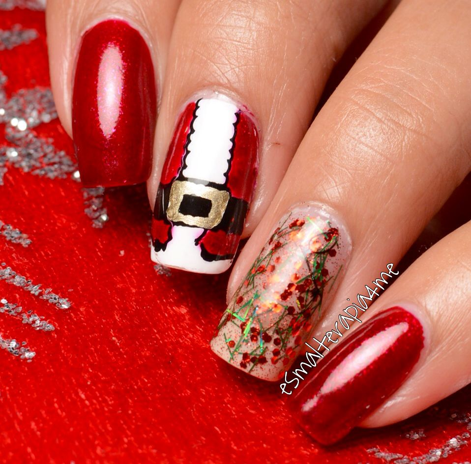 Christmas nails using nail stamping and leadlight technique.