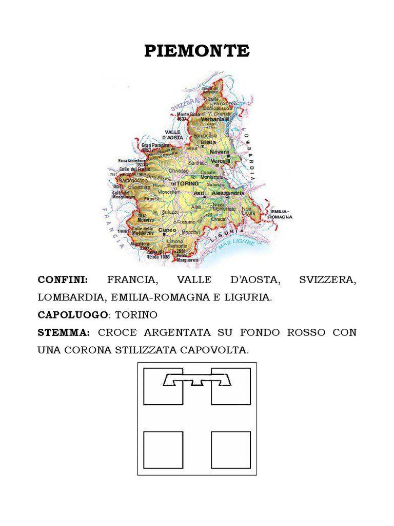 Lezione Facilitata Sulla Regione Piemonte Testo In Stampato