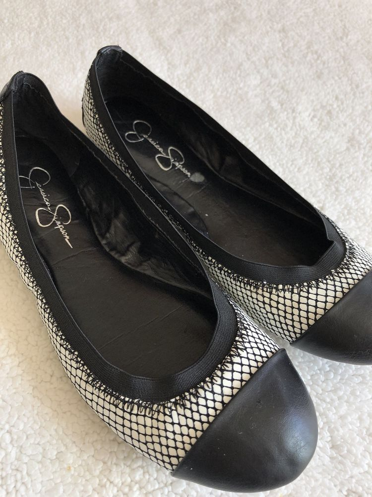 e9f7f51ace93c1 Jessica Simpson Black White Ballet Flats Slip On Size 9 Shoes Comfortable   fashion  clothing  shoes  accessories  womensshoes  flats