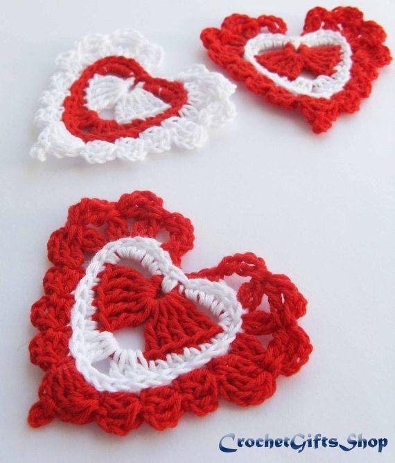 Crochet pattern heart Garland Motif Applique Wedding easy Lace ...