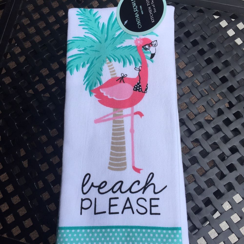 TROPICAL SUMMER DECORATED 2 PINK FLAMINGOS 2 KITCHEN TOWELS