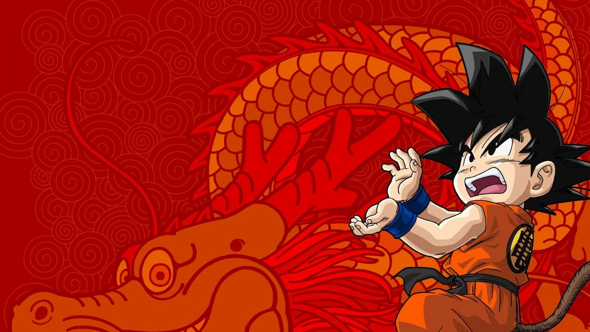 Wallpapers Kid Goku Con Imagenes Dragones Mosaicos Abstracto