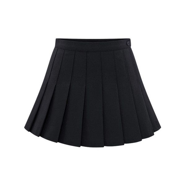 7ff1457ac2 SheIn(sheinside) Black Buttons Pleated Skirt ($19) ❤ liked on Polyvore  featuring skirts, bottoms, black, knee length pleated skirt, short skirts,  pleated ...