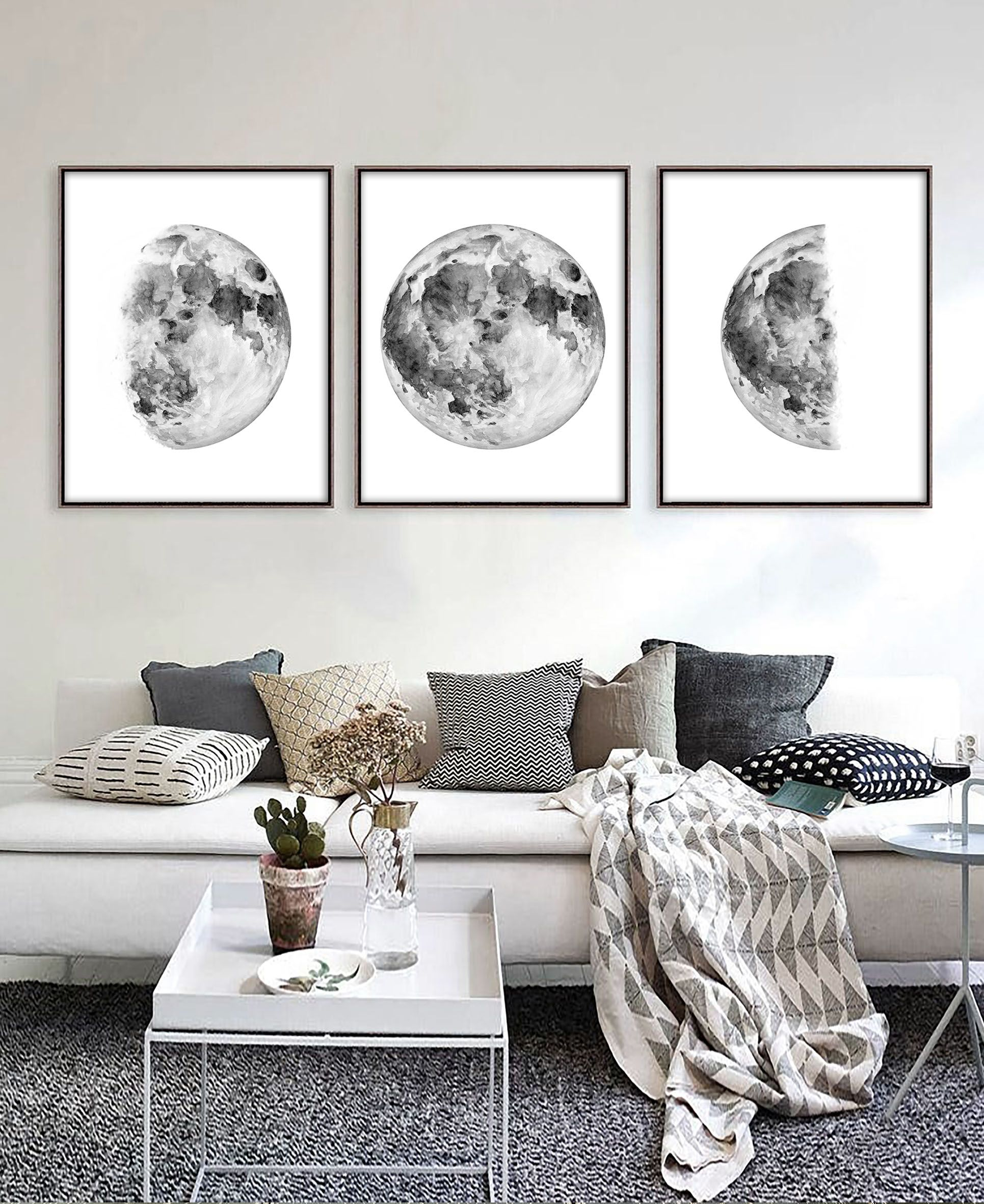 Wall Art Sets For Living Room Indian False Ceiling Designs Printable Set Of 3 Moon Phases Print Downloadable Prints Decor Bedroom B W