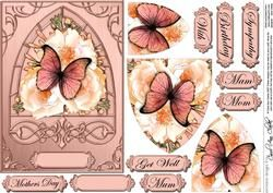 Butterfly & Wild Roses Fancy Arch Shaped Pyramid Sheet