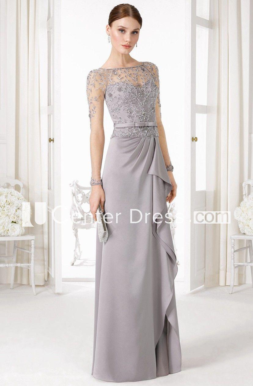 6e5c605ff8ae Sheath Long-Sleeve Floor-Length Beaded Bateau-Neck Jersey Prom Dress - UCenter  Dress