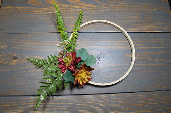 Photo of Succulent Wreath, Modern Wreath, Artificial Succulents, Farmhouse Wreath, Embroidery Hoop, Mantelpiece, Front Door, Minimalist, Succulents