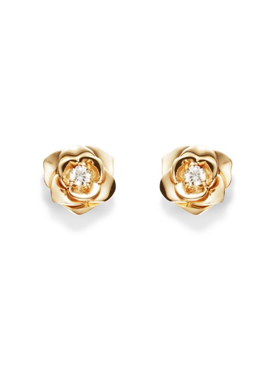 Piaget Rose Earrings In 18k Gold Set With 2 Brilliant Cut Diamonds Rox 0 12 Ct