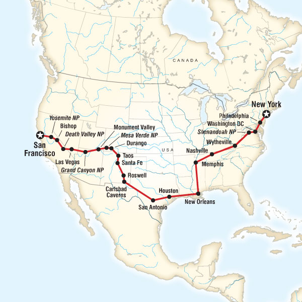 Map of the route for Coast to Coast Road Trip Eastbound   Road Trip ...