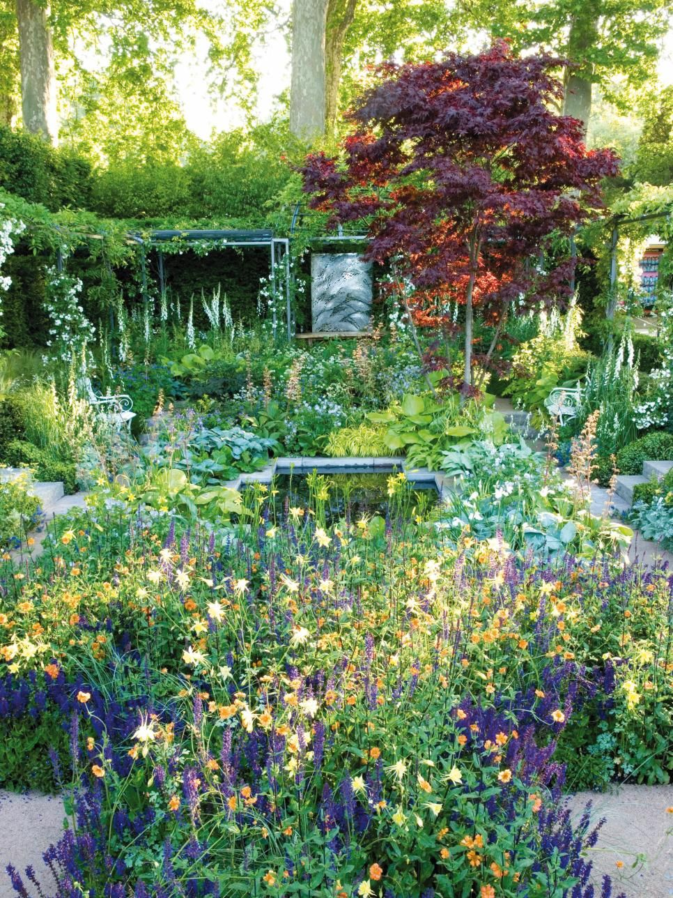 Garden trees background  A lush cottage garden is home to an abundance of greenery foliage