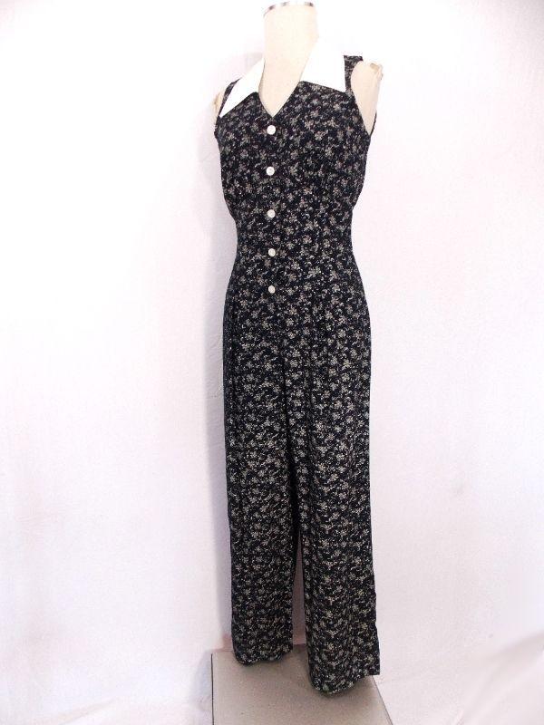Floral Festival Jumpsuit Sz M Sleeveless Vintage 80s Pant Suit Secretary Grunge #DeckedOut