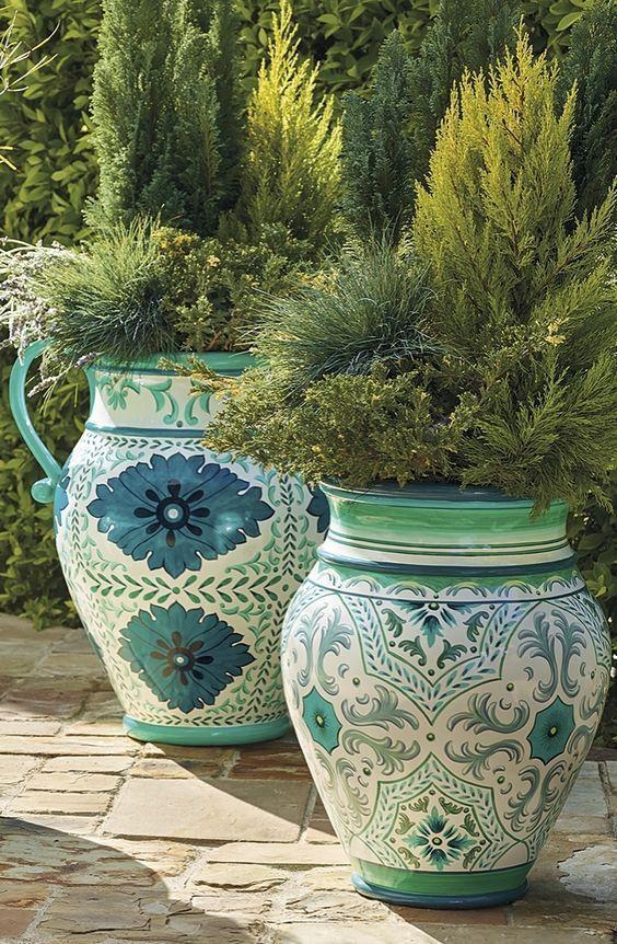 Blue and white -   24 white garden pots ideas