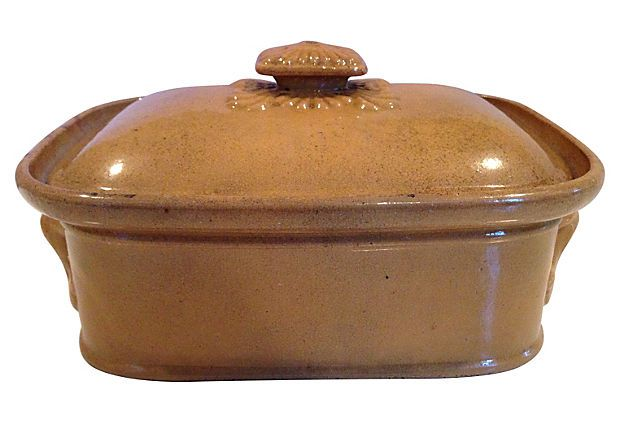 French Stoneware Covered Dish - Heather Cook Antiques : French Stoneware Covered Dish