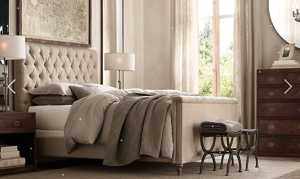 Restoration Hardware - lamps, bedding, and map with old wood frame ...