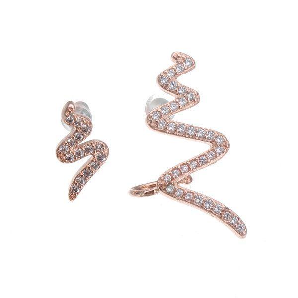 18K Gold Plated 925 Silver Zircon Asymmetric Earrings