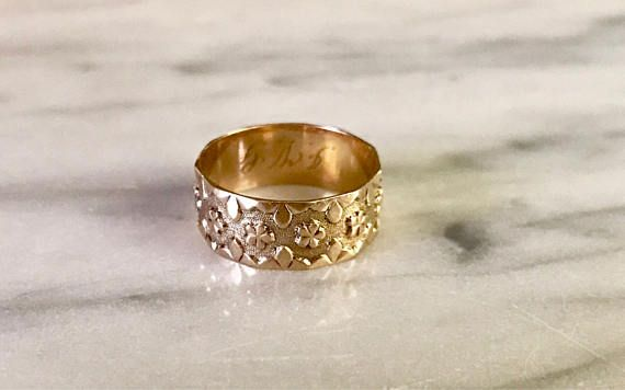 Antique Victorian Era Cigar Band Ring 10 Karat Yellow Gold Gold Cigar Band Rings Gold Cigar Band Cigar Band Ring