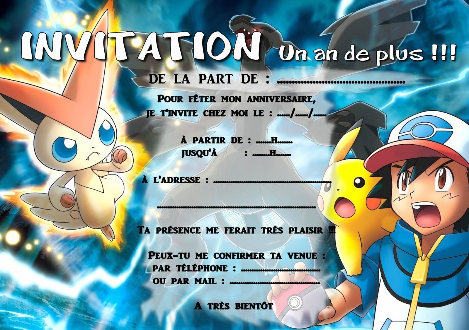 Carte invitation anniversaire pokemon imprimer gratuite - Carte pokemon gratuite ...