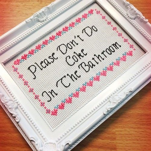 Bathroom Signs Tumblr cross stitch | tumblr-different quote | funny stuff | pinterest