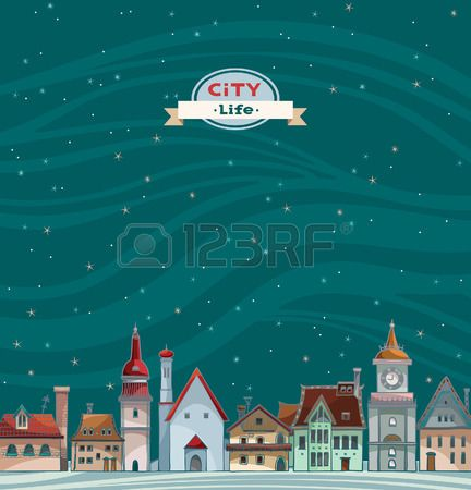Cartoon City View With Red Roof On A Night Starry Sky Background City Cartoon City View Red Roof