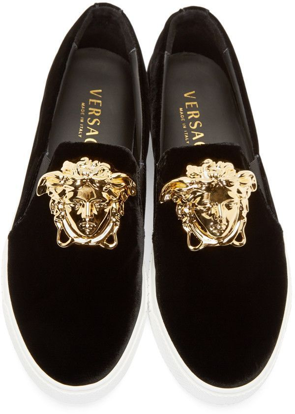 ee84b9c2fa615 Versace Black Velvet Medusa Sneakers Walk around the house with Or ...