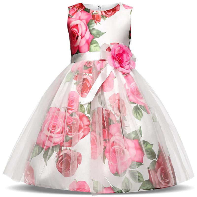Girls Printed Girl Flower Party Dress