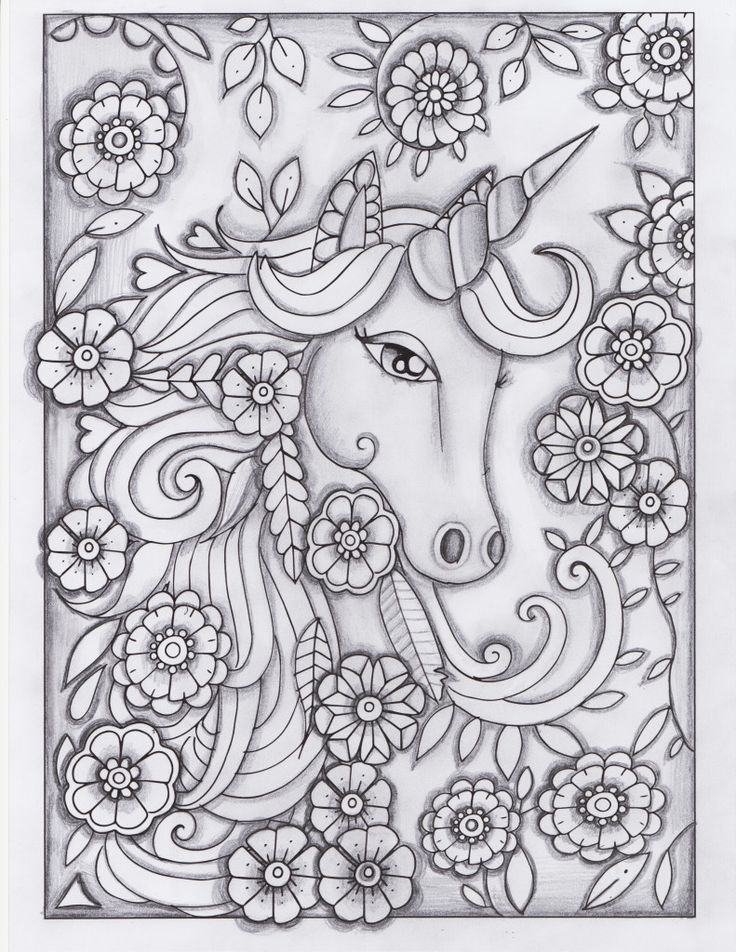 unicorn greyscale drawing unedited Adult Coloring Books