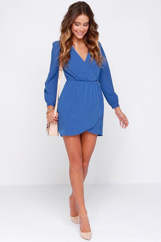 85c59bad42ef9f That's a Wrap Blue Long Sleeve Dress | Wear. | Blue long sleeve ...