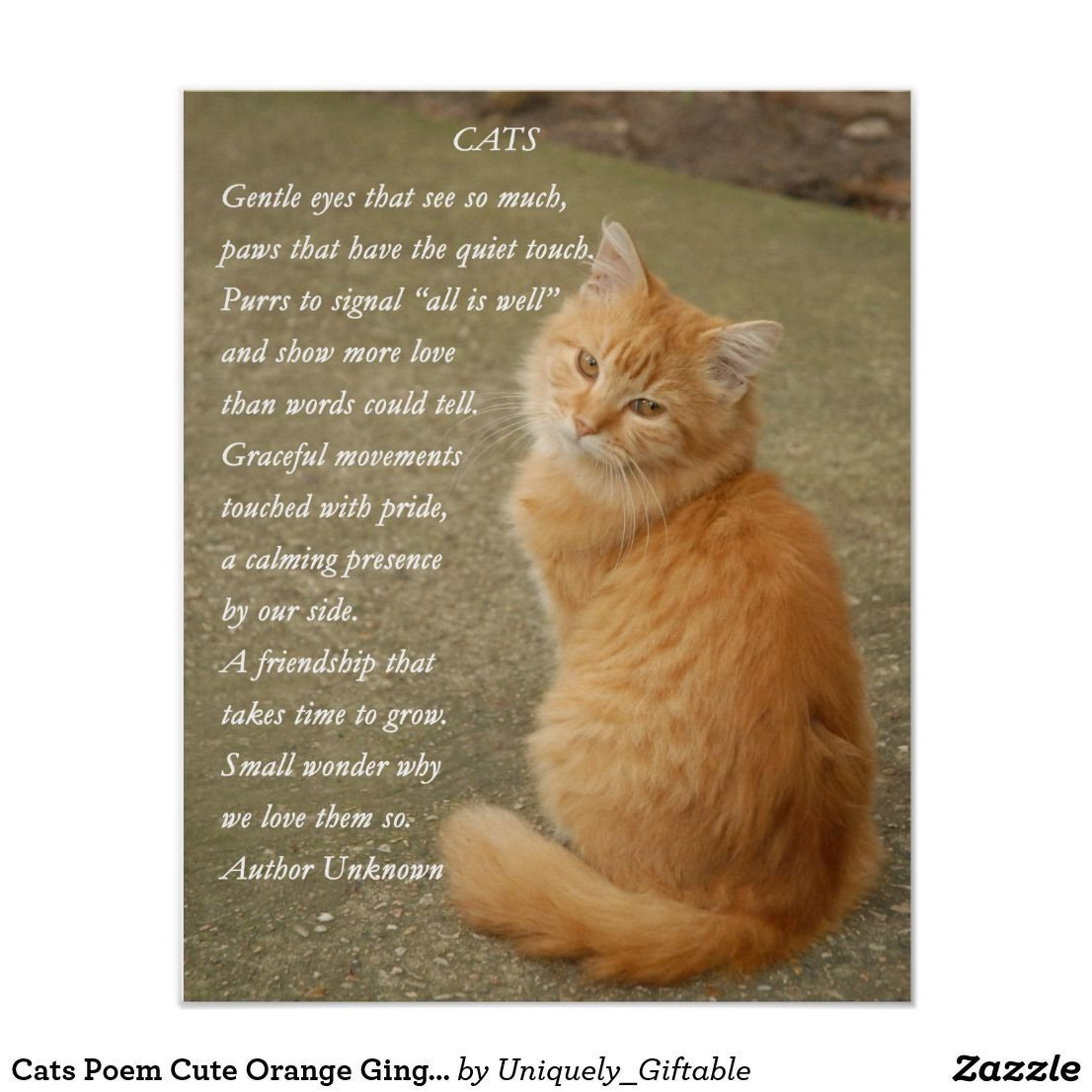 Cats Poem Cute Orange Ginger Kitty Cat Poster Orange Kittens Cat Poems Cats
