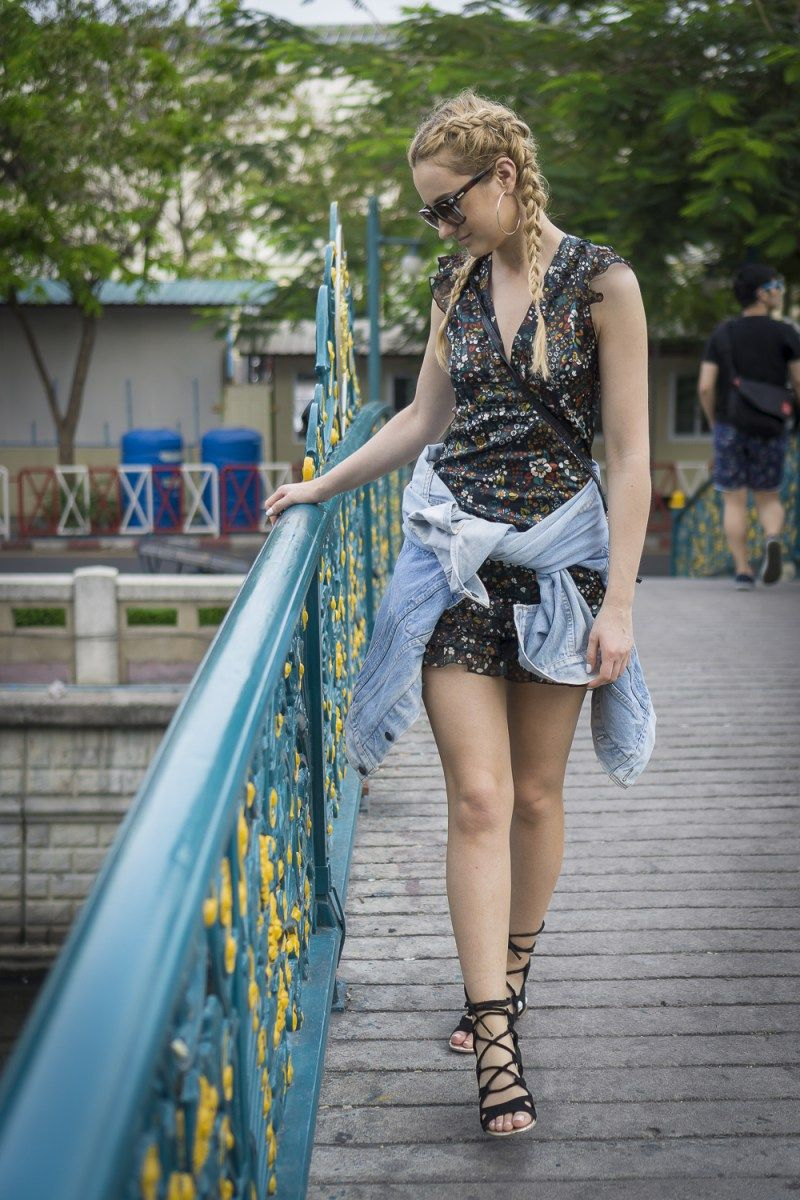 street style fashion outfit inspiration flower dress denim jacket
