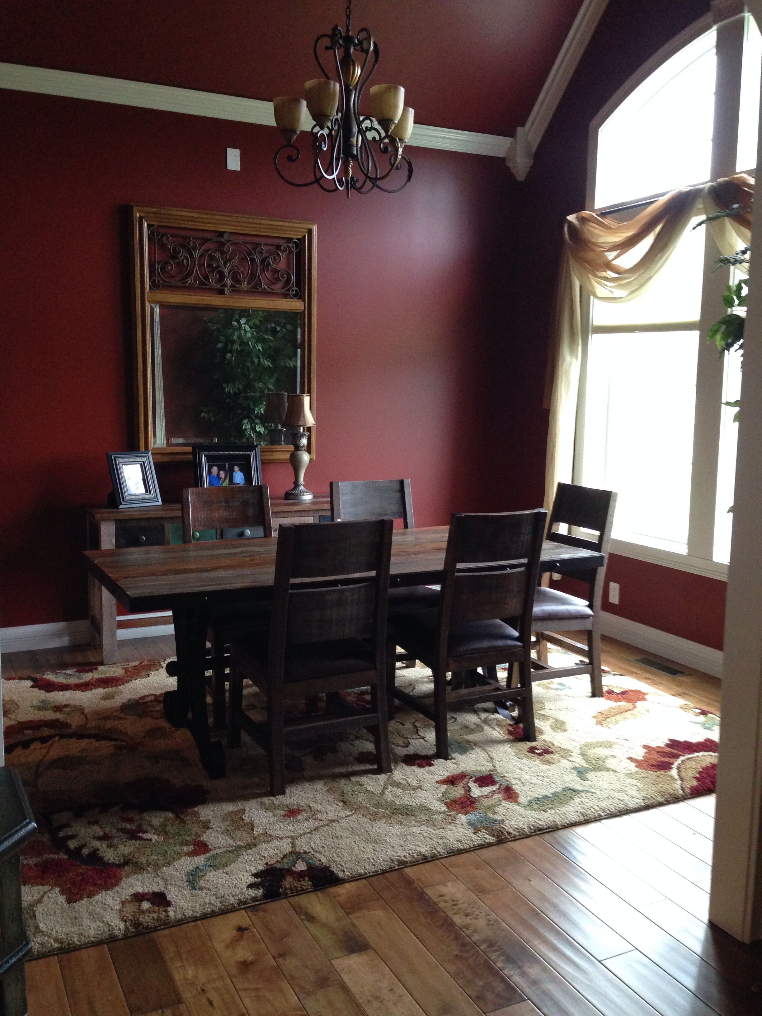 formal dining room with sherwin williams barn red paint on sherwin williams dining room colors id=77002