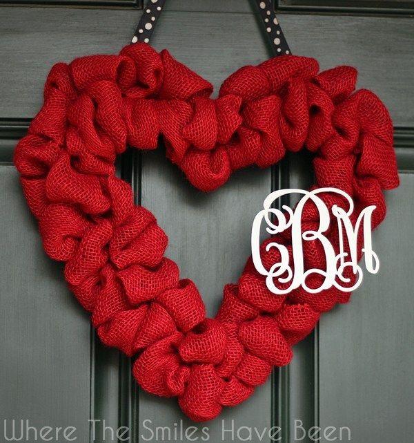 Photo of Valentine's Burlap Heart Wreath with Couple's Monogram