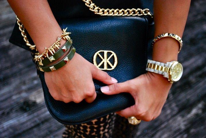 'Haute Off The Rack' rocks a Stella & Dot arm party (Renegade Spiked Bracelet & Pyramid Double Wrap Leather Bracelet)