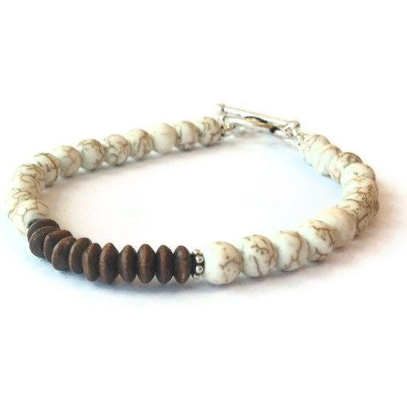 White Turquoise Bracelet Brown Wood Jewelry by jewelrybycarmal, $22.00