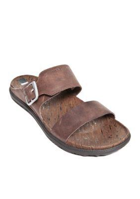 27d1f2f9321 Merrell Brown Around Town Buckle Slide Sandals