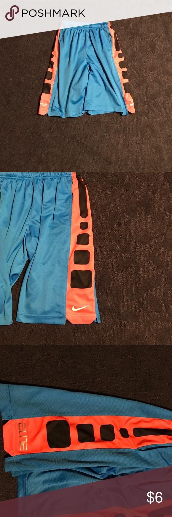 Boys Nike Elite Basketball Shorts Boys Nike Elite Basketball Shorts. Color: Blue/Orange. Size: Large. Gently Worn Nike Bottoms Shorts
