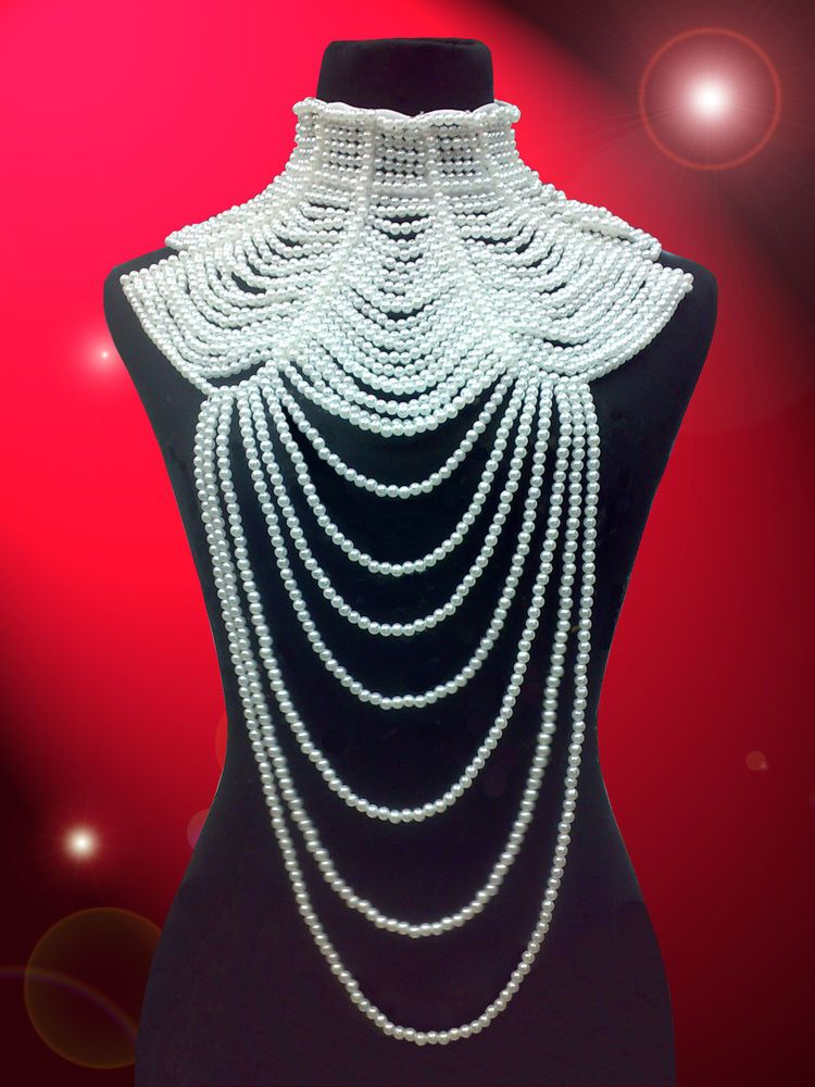 White Pearl Drag Queen Showgirl Cabaret Costume Jewlery