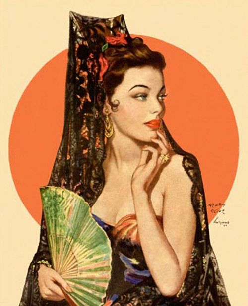 A Sultry, Sensuously Beautiful Pin-Up Senorita Pinup Vintage Spanish Woman  Micelanius  Arte Flamenco, Flamenco Y Peinetas-5057
