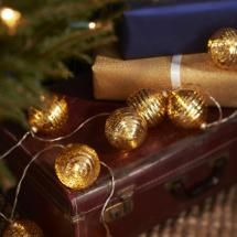 Gold Glass Bauble Battery Christmas Lights