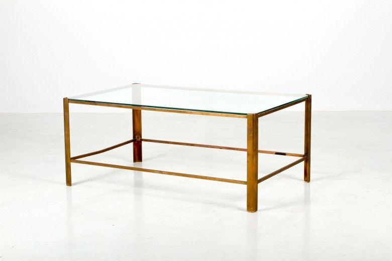 Table Basse Laiton Et Verre Rectangulaire Annees 50 Table Basse Mobilier Design Table Basse Verre