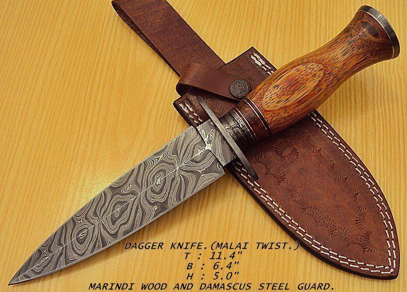 "DAMASCUS CUSTOM HANDMADE BEAUTIFUL DAGGER KNIFE.(11.4"") MARINDI WOOD HANDEL. #BestSteelWarrior"